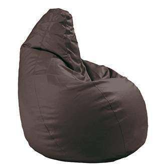 Pouf Pera Chocolate LD - Pouf pera para dormitorio, tapizado en polipiel de alta calidad color chocolate