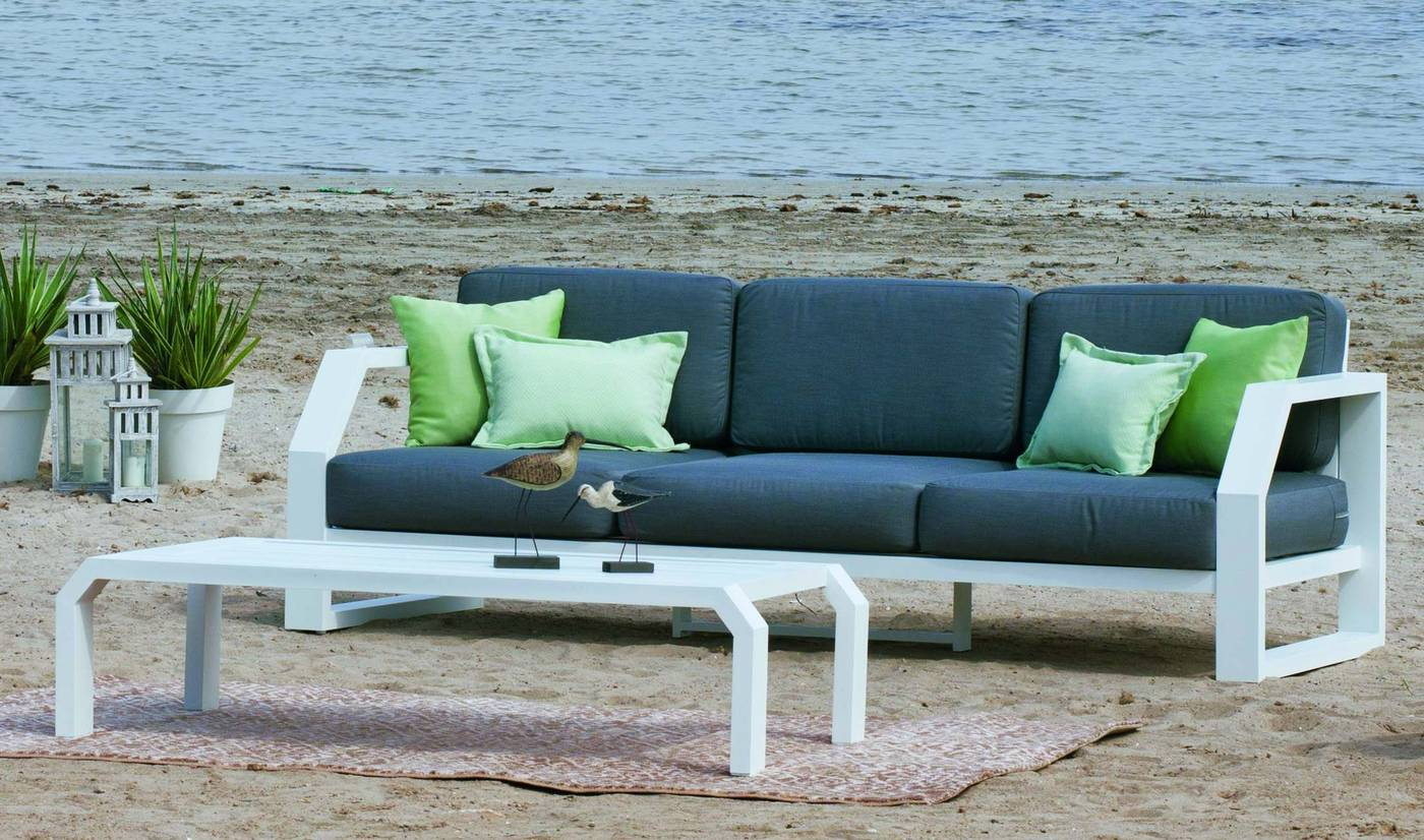 Sofá Aluminio Luxe Zafiro 3 De Hevea Terraza Jardín