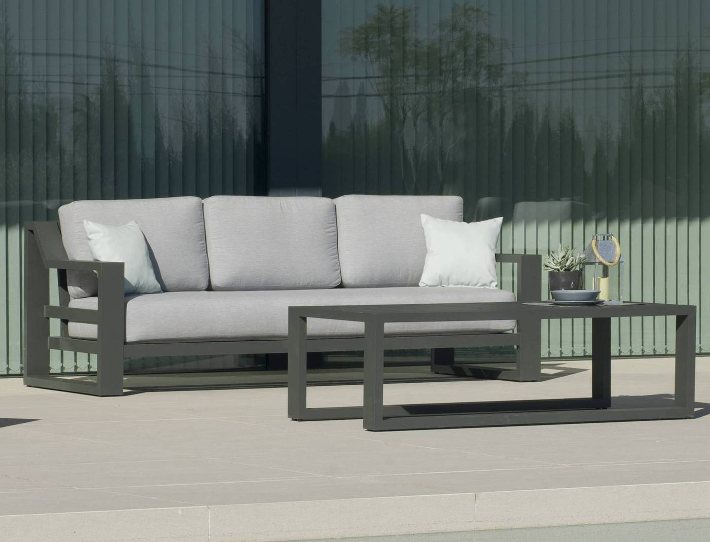 Sofá Aluminio Luxe Rosenborg 3 De Hevea Terraza Jardín
