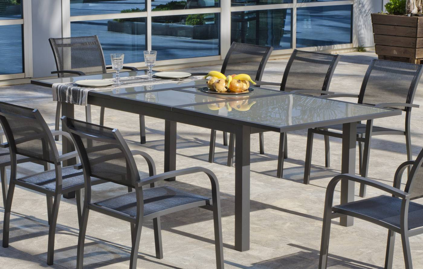 Mesa Aluminio Horizon 180 240 De Hevea Terraza Jardín