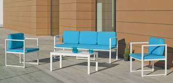 Set Aluminio Long Beach-8 de Hevea - Conjunto de aluminio apilable: sofá 3 plazas + 2 sillones + mesa de centro + cojines. Disponible en color blanco o antracita.