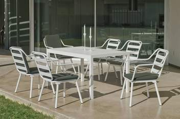 Set Aluminio Palma-Minerva 200-6 de Hevea - Conjunto aluminio luxe: mesa rectangular de 200 cm. + 6 sillones. Disponible en color blanco y color antracita.